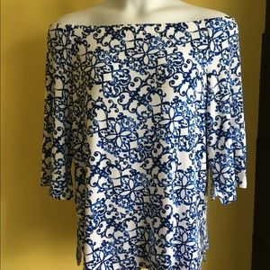 CHICOS TRAVELERS Etched Scrolls Top Sz 2 XL